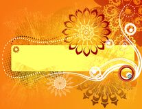 Retro Floral Grunge orange. Warm floral design with plase for text Royalty Free Stock Images