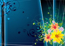 Retro floral illustration. With dark background of blue and black, with bright colorful flowers of yellow, orange and purple in the bottom right-hand corner Stock Photo