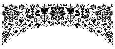 Scandinavian folk art frame border retro vector greeting card design, floral black and white ornament with birs and flowers. Retro floral monochrome background Royalty Free Stock Images