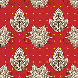 Retro floral ornament red seamless background. Vector Stock Photo