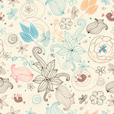 Retro floral pattern vector illustration