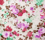 Retro Floral Pattern on Fabric Background Texture Vintage Style Royalty Free Stock Photos