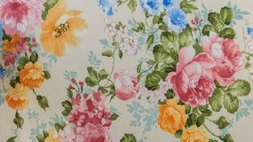Retro Floral Pattern Fabric Background Stock Photography