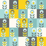 Retro floral pattern, geometric seamless flowers Stock Images