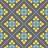 Retro floral pattern, geometric seamless flowers Stock Photo