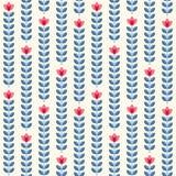 Retro floral pattern, geometric seamless flowers Royalty Free Stock Photo