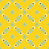 Retro floral pattern, geometric seamless flowers Royalty Free Stock Photo