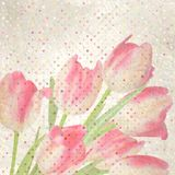 Retro floral with polka dot tulips. EPS 10 Royalty Free Stock Image
