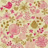 Retro floral seamless background with birds Royalty Free Stock Photos