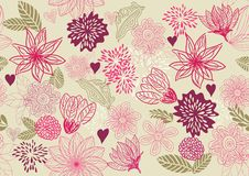 Retro floral seamless background in vector. Flower seamless pattern, element for design in vector Stock Photos