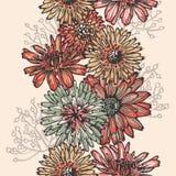 Retro floral seamless border Stock Photo