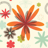 Retro Floral Seamless Pattern. Various sized flowers arranged in a seamless pattern Royalty Free Stock Image
