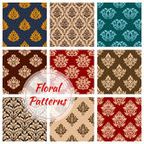 Retro floral seamless pattern background set. Renaissance floral set of seamless pattern background. Baroque flourish decoration and vintage tracery backdrop Royalty Free Stock Images