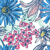 Retro floral seamless pattern. Hand drawn elegance fresh floral seamless pattern. Vintage botanical endless texture. All objects are conveniently grouped  and Stock Photography