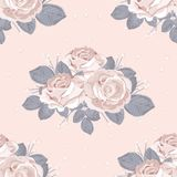 Retro floral seamless pattern. White roses with blue gray leaves on pastel pink background. Vector illustration vector illustration