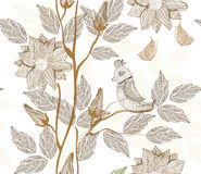 Retro floral seamless texture with bird in vector Royalty Free Stock Photography