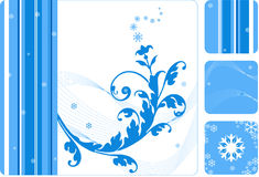 Retro floral-snowflake set Stock Image