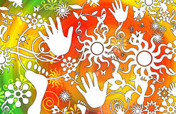 Retro floral and sun design. Retro orange, yellow and green illustrated design of hands, feet, floral elements and sun shaped silhouettes Stock Photography