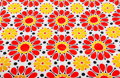 Retro floral textile. Retro summer textile with red and yellow flowers stock illustration