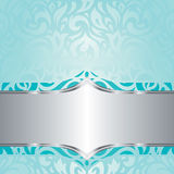 Retro floral Turquoise & silver holiday vintage invitation background design Stock Photos
