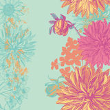Retro floral vertical seamless border Royalty Free Stock Image