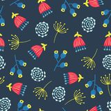 Retro florals seamless vector background. 1960s, 1970s flower design. Red, blue, and yellow doodle flowers on a blue background. Vintage flower pattern for royalty free illustration