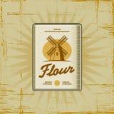 Retro Flour Pack. In woodcut style. Decorative  illustration Stock Photo