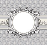 Retro flourish background with frame. Greeting card bridal design Royalty Free Stock Photos