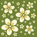 Retro Flower Background. Graphic illustration of retro colored flowers against a 60s green background Royalty Free Stock Photo