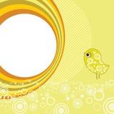 Retro flower background with bird. Retro circle background - vector illustration