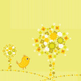 Retro flower background with bird. Retro circle background - vector illustration