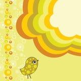 Retro flower background with bird Royalty Free Stock Image