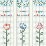 Retro flower banners concept. Vector illustration design. Stock Photos