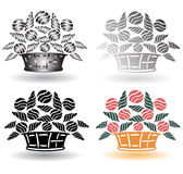 Retro flower basket Stock Photography