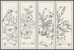 Retro Flower and  Bird Banners Royalty Free Stock Photos