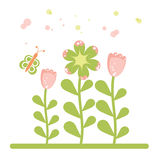 Retro flower and butterfly Royalty Free Stock Photos
