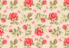Retro flower card- roses Royalty Free Stock Photo