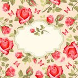 Retro flower card- roses Stock Images