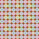 Retro Flower on Chocolate Seamless Pattern. Soft multicolored rosette seamless pattern set against a chocolate background vector illustration