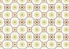 Retro Flower Circle and Square Pattern Stock Photo