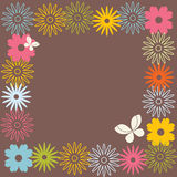 Retro flower design. Various floral patterns and frame composition Royalty Free Stock Images
