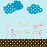 Retro flower garden Illustration. In soft, pastel colors Stock Image
