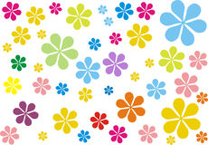 Retro flower - hippies. Experience the retro atmosphere that comes from kids flowers - retro designer wallpaper Stock Image