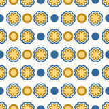 Retro flower pattern. Blue and brown flower and dots seamless pattern vector illustration