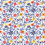 Retro flower pattern in vibrant colors for spring Royalty Free Stock Image