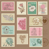 Retro Flower Postage Stamps Royalty Free Stock Images