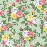 Retro flower seamless pattern - roses royalty free illustration