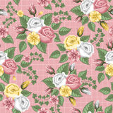 Retro flower seamless pattern - roses Royalty Free Stock Images