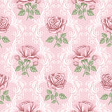 Retro flower seamless pattern - roses Royalty Free Stock Image