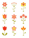 Retro Flower Set Royalty Free Stock Photography